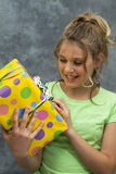 Girl with Birthday Present Stock Image