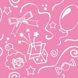 Girl birthdays seamless background. Girl pink birthdays seamless background. Vector illustration Vector Illustration