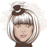 Girl bit her lip, an actress in a small hat with a feather. Vector illustration of a blonde girl with a hairstyle quads, an actress in a small hat with a feather Royalty Free Stock Photos