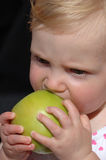 Girl biting apple. Close up portrait of baby girl eating green apple, black background royalty free stock photography