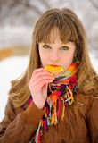 Girl biting orange slice Royalty Free Stock Image