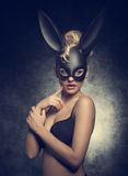 Girl with bizarre bunny mask Royalty Free Stock Photos