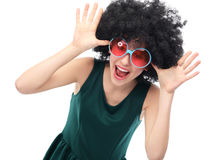 Girl with black afro and sunglasses. Young woman over white background Stock Photo