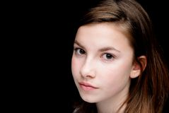 Girl on black background Stock Image