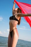 Girl in a black bathing suit Royalty Free Stock Photography