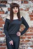 Girl in black Stock Image