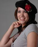 Girl in Black Beret Royalty Free Stock Photography