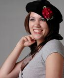 Girl in Black Beret Royalty Free Stock Photos