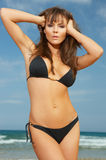 Girl in Black Bikini Royalty Free Stock Images