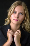 Girl in black blouse Royalty Free Stock Images