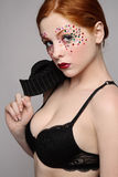 Girl in black bra Stock Photography