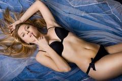 Girl in black bra Royalty Free Stock Photography
