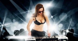 Girl in the black bra with the mixer Stock Image