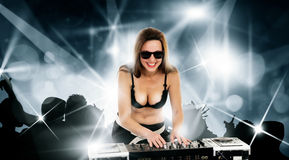 Girl in the black bra with the mixer Royalty Free Stock Image