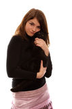 Girl with black cat Stock Images