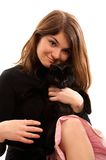 Girl with black cat Royalty Free Stock Photos