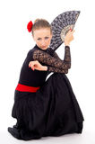 Girl in black dance costume Stock Photography