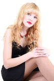 Girl in black dress Stock Images
