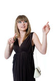 Girl in black dress Royalty Free Stock Image