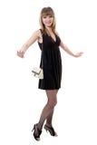 Girl in black dress Stock Photos