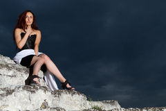 Girl in a black dress Stock Photos
