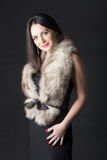 Girl in black dress with fur Royalty Free Stock Photos