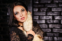 Girl in a black dress and furs Stock Photos