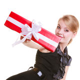 Girl in black dress holding red christmas gift box Stock Photography