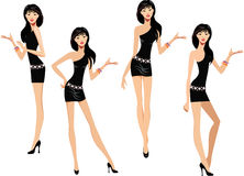 Girl in a black dress makes various hand gestures. Vector illustration of girl in a black dress makes various hand gestures Stock Photo