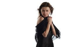 Girl in black dress with scarf Stock Photo