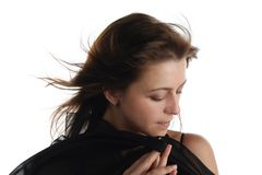 Girl in black dress with scarf Stock Photography