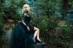 Girl black dress sitting on a rock in the forest. Royalty Free Stock Photos