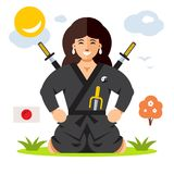 Woman Ninja. Vector Flat style colorful Cartoon. Girl in black dress with a swords and sais. Isolated on a color Background Royalty Free Stock Photo