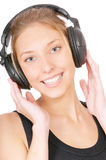 Girl in black ear-phones Stock Photo
