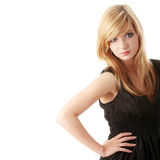 Girl in black elegant dress Royalty Free Stock Photography
