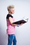 Girl with black folder Royalty Free Stock Photography