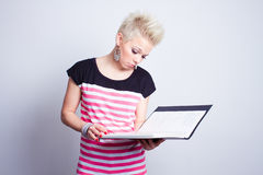 Girl with black folder Royalty Free Stock Photos
