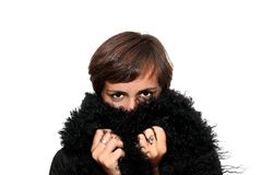 Girl in a black fur. Young girl hiding her face inside black fur Stock Photography