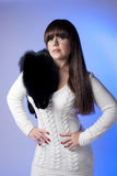 Girl with black fur Stock Photo