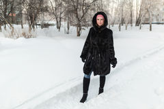 Girl in a black fur coat Stock Image