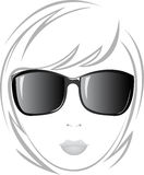The girl in black glasses Stock Image