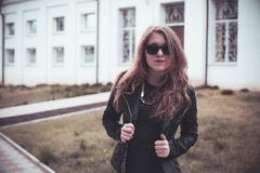 Girl in black glasses Royalty Free Stock Images