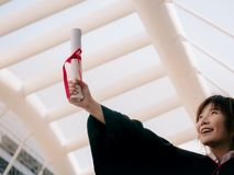 Asian is HAPPY GRADUATED from college royalty free stock photography