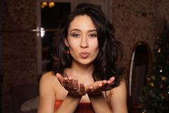 Girl, Black Hair, Hand, Finger stock photos