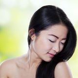 Girl with black hair and healthy skin Royalty Free Stock Photo