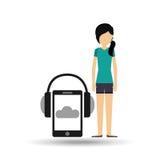 Girl black hair smartphone headphones music online Stock Photos