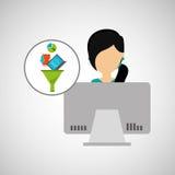 Girl black hair using computer data analysis Stock Photos
