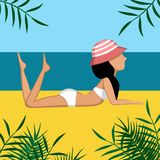 Black haired girl lies on a beach in swimsuit and hat stock illustration