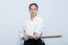 A girl in black hakama standing in fighting pose Royalty Free Stock Photos
