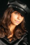 Girl in black hat Stock Image